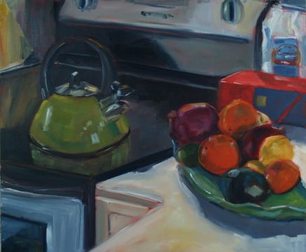 Green Kettle Green Plate, oil on panel, 20x24, 2016 (Sold)