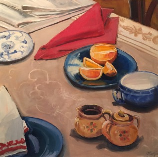 Breakfast Orange, oil on panel, 24x24, 2016