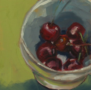 Just a Bowl of Cherries, oil on panel, 6x6, 2016