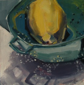 Lemon in a Blue Colander (sold)