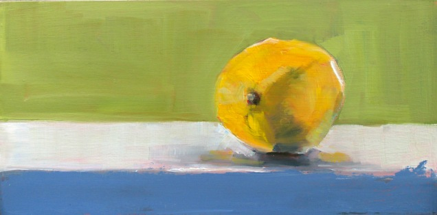 Pre Breakfast Lemon, oil on panel, 6x12, 2016 (Sold)