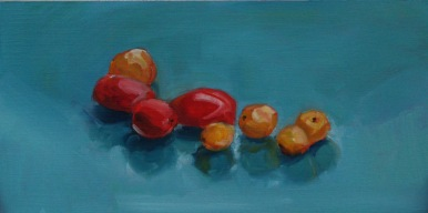 Rainy Day Tomatoes, oil on panel, 6x12, 2016 (Sold)