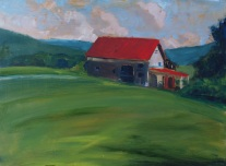 Red Roof with Clouds (Sold)