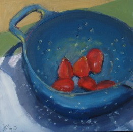 Tomatoes in a Blue Colander (sold)