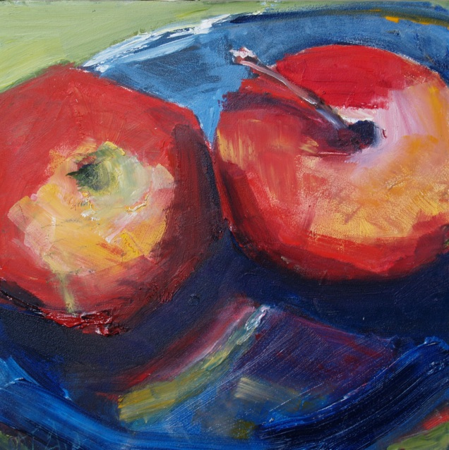 Two Apples on a Blue Glass Plate (Sold)