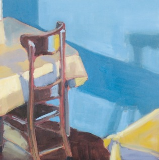 Blue Wall Yellow Table