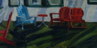 Red Glider Blue Chair
