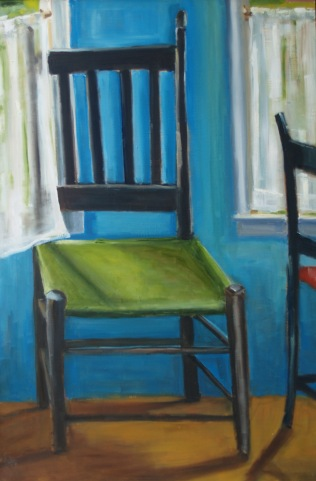 Green Chair with Curtain