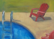 Blue Water Red Chair, oil on panel, 9x12, 2016