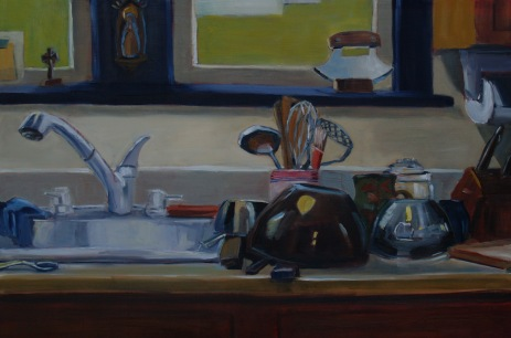 Our Lady of the Kitchen Sink, Oil on Panel, 20x36, 2018