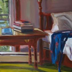 Blue Kimono, oil on panel, 12x12, framed