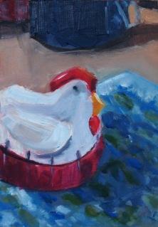 Chicken Timer, oil on panel, 6x8