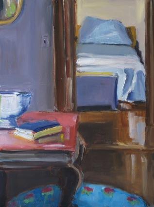 Lisa's Room, oil on panel, 9x12