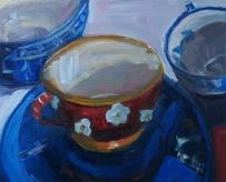 Three Cups, oil on panel, 8x10