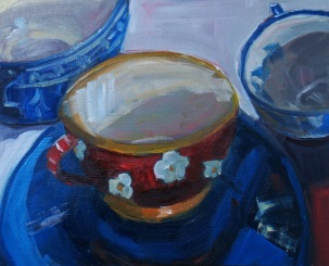 Three Cups, oil on panel, 8x10