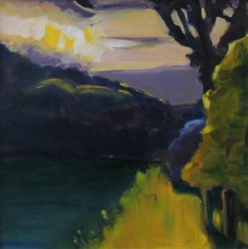 Low Moor Sunrise, oil on panel, 12x12