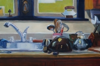 Our Lady of the Kitchen Sink, oil on panel, 24x36