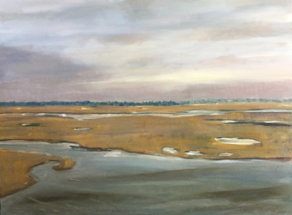 Maine Wetlands from a Train Window, oil on canvas, 36x40