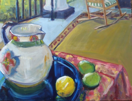 Patterned Pitcher with Lemon and Limes 18x24 oil on panel