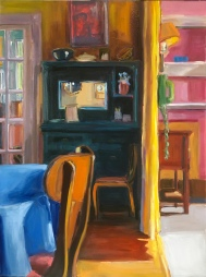 Blue Dresser Yellow Curtain Pink Wall, oil on canvas, 30x40