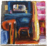 Blue Dresser Yellow Curtain Pink Wall, oil on paper, 3x3, framed under glass to 8x8