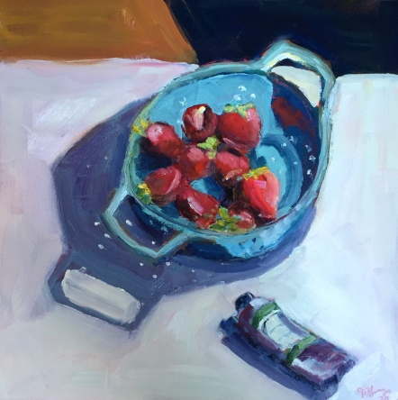 Les fraises d'atleier Oil on Panel 12x12